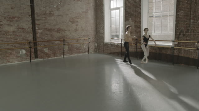 ballet dancers rehearsing together in dance studio - ballet studio stock videos and b-roll footage