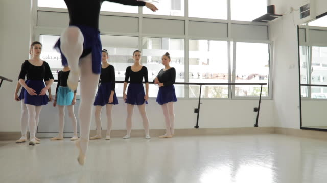 ballet girls practicing together in studio - small stock videos & royalty-free footage