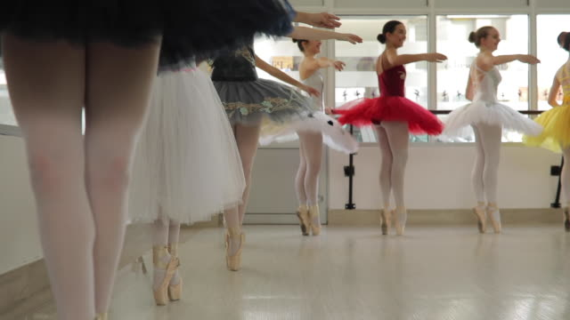 ballet girls training together in studio - ballet studio stock videos and b-roll footage