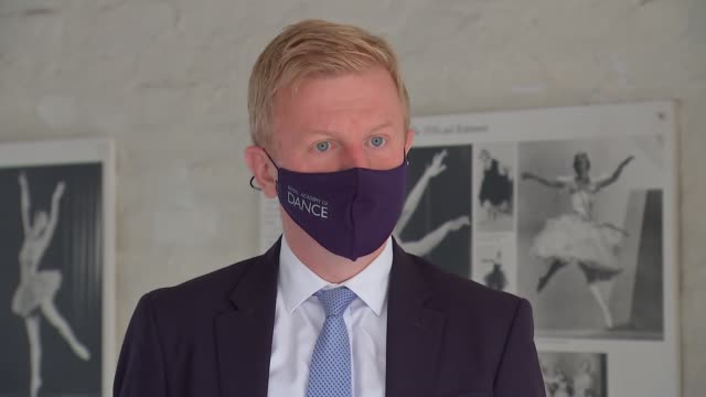 oliver dowden photocall / darcey bussell interview england int oliver dowden mp and darcey bussell wearing face masks and doing ballet poses with... - ballet dancer stock videos & royalty-free footage