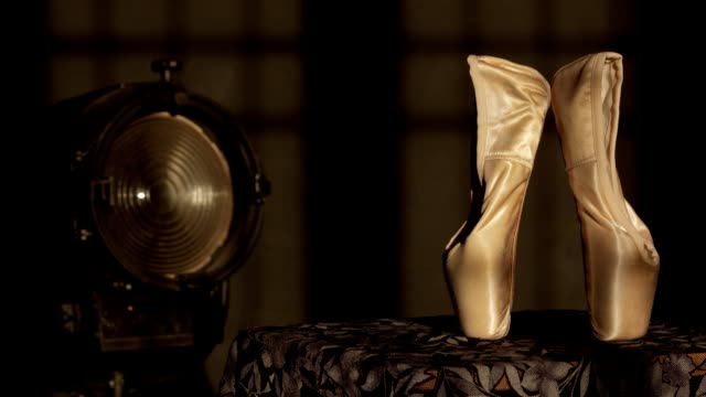 ballet  slippers and stage light - ballet shoe stock videos & royalty-free footage