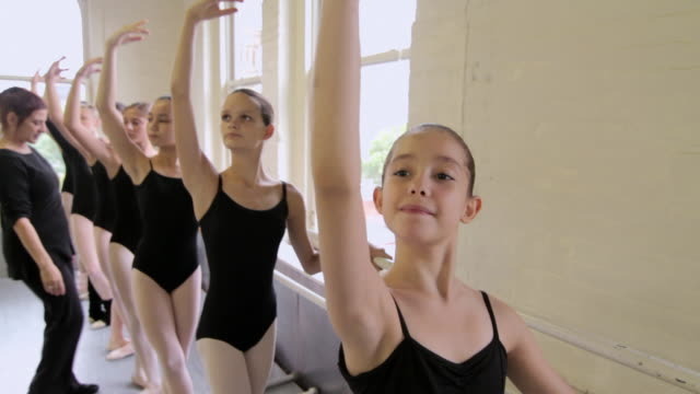ballet teacher correcting ballerinas posture - barre stock videos and b-roll footage