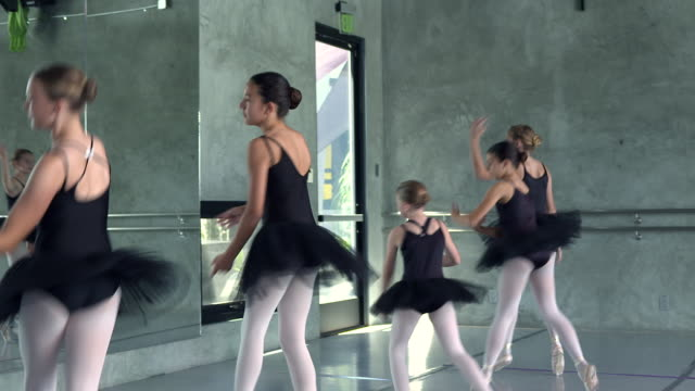 ws pan ballety dance troupe  of young girls performing ballet piece / rancho mirage, california, united states  - ballet dancer stock videos and b-roll footage