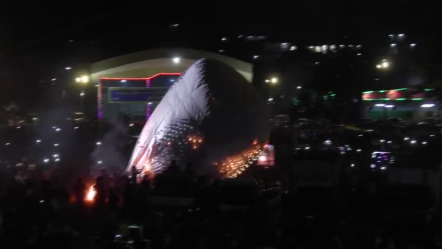 A balloon crashes and burns at the annual Taunggyi Fire Balloon festival in Taunggyi Myanmar Hundreds of teams from Taunggyi and surrounding villages...