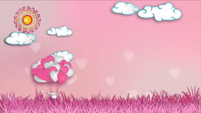 balloon heart shape with cloud - retro poster stock videos & royalty-free footage