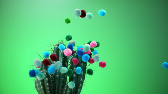 slo mo ld balloon popping as it touches a cactus and releases colorful confetti - cactus balloon stock videos & royalty-free footage
