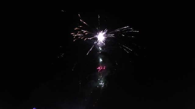 A balloon shoots off fireworks at the annual Taunggyi Fire Balloon festival in Taunggyi Myanmar Hundreds of teams from Taunggyi and surrounding...