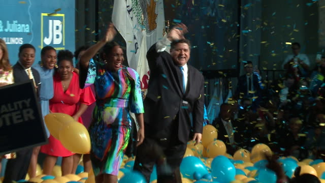 WGN Balloons and Confetti Drop on JB Pritzker Governor Race Victory Party after winning the Illinois governor's race at the Marriott Marquis Chicago...