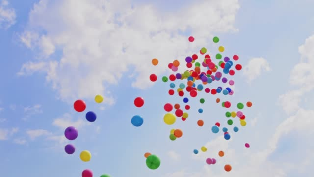 ballons in den himmel fliegen - fasching stock-videos und b-roll-filmmaterial