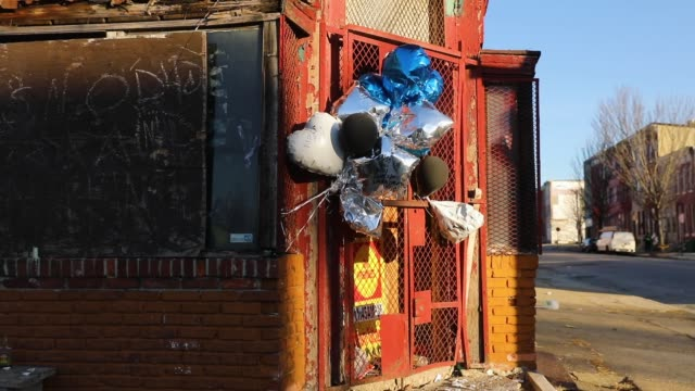 Balloons hang from a storefront where a man was recently murdered on February 3 2018 in Baltimore Maryland Baltimore one of the poorest major cities...