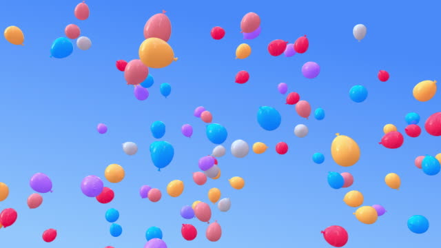 balloons moving upwards to the sky - anniversary stock videos & royalty-free footage