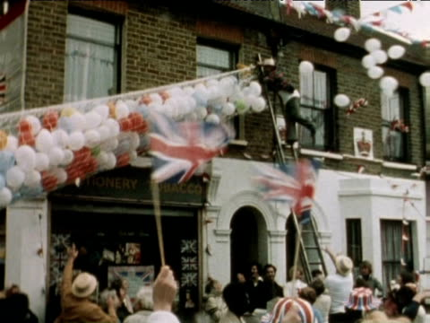 balloons released at street party during queen elizabeth ii silver jubilee celebrations 1977 - street party stock videos and b-roll footage