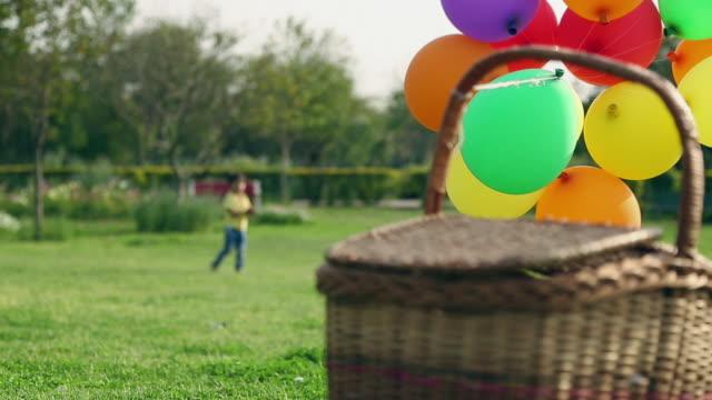 vídeos y material grabado en eventos de stock de balloons tied with a wicker basket, delhi, india - cesta de picnic