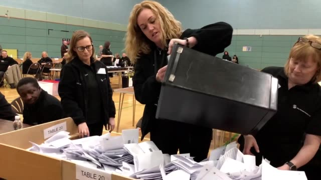 ballot boxes arrive at the east dunbartonshire count where lib dem leader jo swinson is standing for reelection the counting begins as the exit poll... - ballot slip stock videos & royalty-free footage