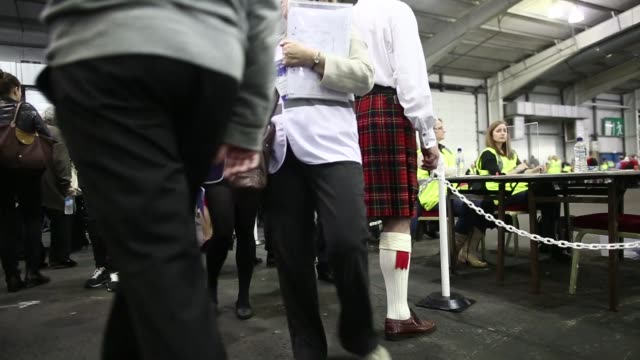 Ballot boxes containing Scottish independence referendum votes are lined up in rows as they arrive to be counted at the Royal Highland Center in...