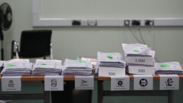 ballot papers are counted at the pembrokeshire archives building in prendergast on may 26 2019 in haverfordwest wales voting has taken place across... - ballot slip stock videos & royalty-free footage