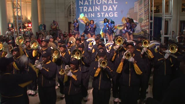 ballou senior high school marching band performs at the amtrak celebrates national train day 2010 washington dc at washington dc - marching band stock videos & royalty-free footage