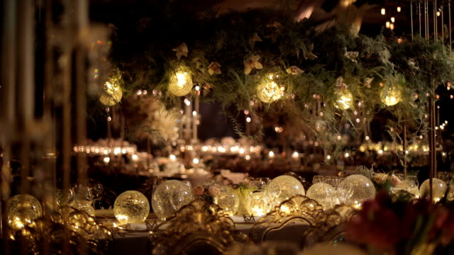 ballroom event decoration with beautiful chandeliers and lights - 19th century style stock videos & royalty-free footage