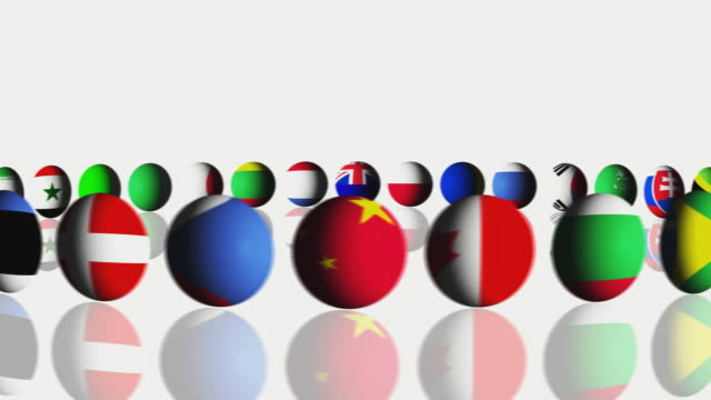 vídeos y material grabado en eventos de stock de cgi balls with national flags on white background / cape town, south africa - abundancia
