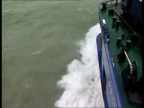 baltic ferry disaster: search for cause:; a)nat: england: off dover: ext tcs p and o ferry sailing away tilt up to lifeboats on side of deck and... - ferry deck stock videos & royalty-free footage