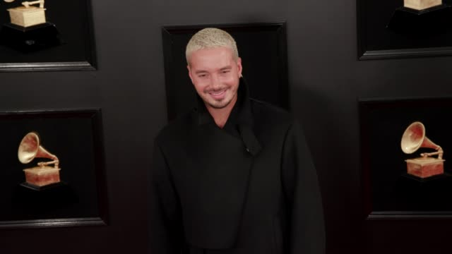balvin at the 61st grammy awards - arrivals at staples center on february 10, 2019 in los angeles, california - editorial use only - grammy awards stock-videos und b-roll-filmmaterial