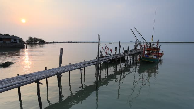 Bamboo bridge toward to the sea