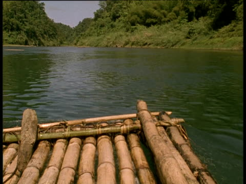 Bamboo raft travelling along river with tree lined banks Cook Islands