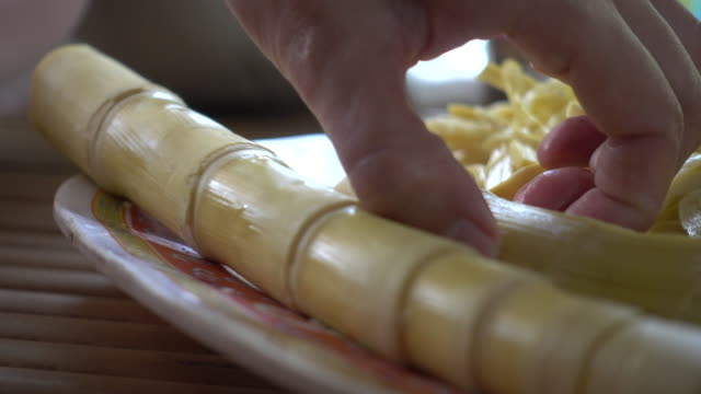 bamboo shoot slice - bamboo shoot stock videos & royalty-free footage