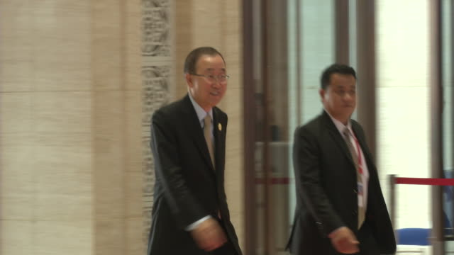 ban ki-moon, secretary-general of the united nations arrives at the association of southeast asian nations summit the laotian capital vientiane. - association of southeast asian nations stock videos & royalty-free footage