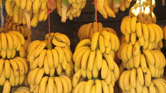 vidéos et rushes de bananas at a marketplace - banane fruit exotique