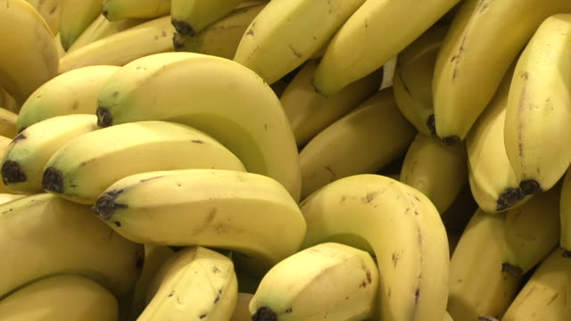 bananas ecu on bunches of yellow bananas - tropical tree stock videos & royalty-free footage