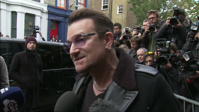 Band Aid 30 Arrivals Sarm Studios Exterior shots of Bono U2 band member arriving being interviewed by media on November 15 2014 in London England