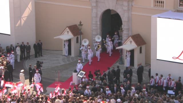 band coming out of palace at the monaco royal wedding first appearance of married couple at monaco - royal palace monaco stock videos and b-roll footage