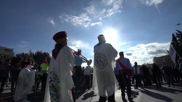 a band composed of palestinian students march towards alaqsa mosque as they mark the anniversary of the birth of prophet muhammad on november 30 2017... - muhammad prophet stock videos & royalty-free footage