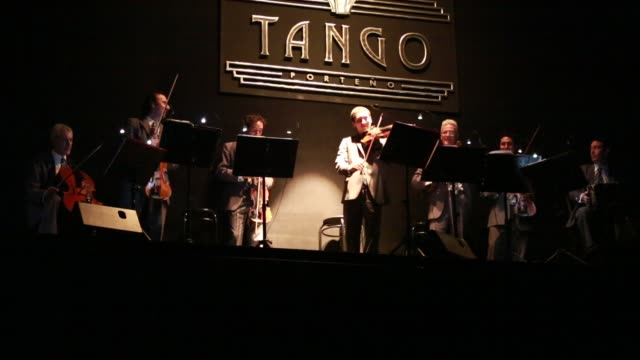 A band is playing during the Tango show 'Tango Porteno' in Buenos Aires Argentina
