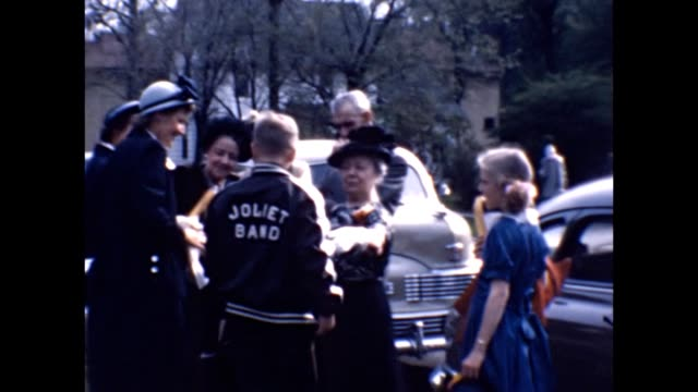 1953 band members leaving hotel - marching band stock videos and b-roll footage