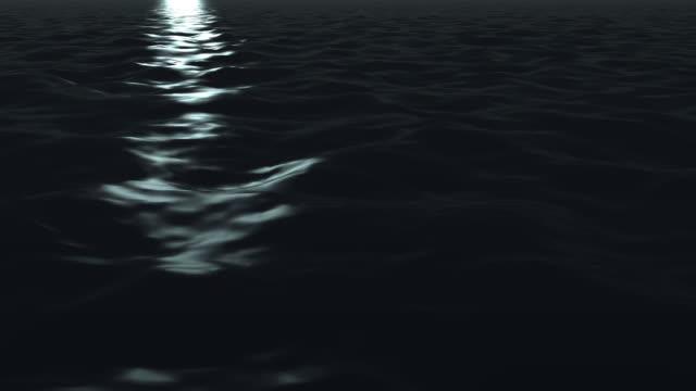 A band of moonlight on dark water (Loop).