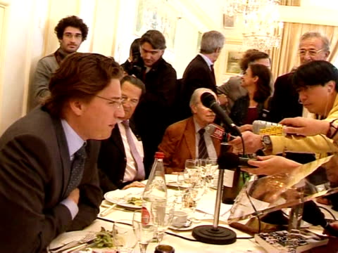 band of street-art satirist-activists bestowed a daddy's boy diploma on president nicolas sarkozy's son on wednesday at a rotary club luncheon. paris... - president of france stock videos & royalty-free footage