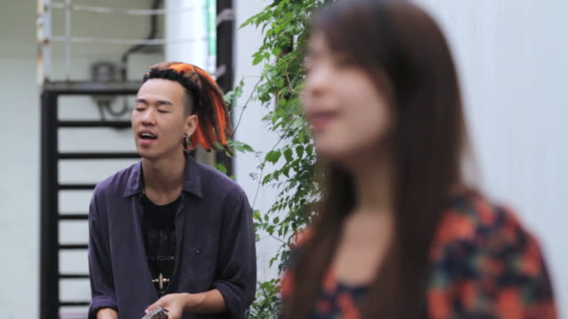 ms band performing music in street audio / seoul, south korea - street performer stock videos and b-roll footage