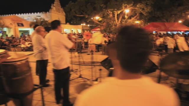MS Band playing in town square at night, Merida, Yucatan, Mexico