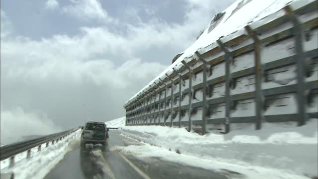 vidéos et rushes de bandai-azuma skyline highway - neige fraîche
