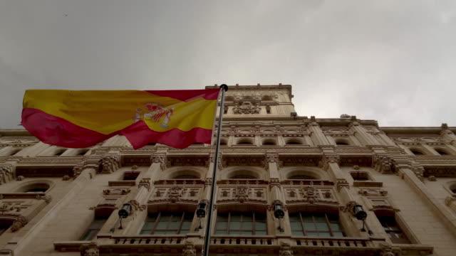 Museo Naval De Madrid.Bandera Espanola Flamenado En Museo Naval De Madrid Stock Footage