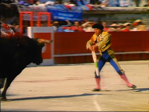 PAN banderillero thrusting two banderillas into neck of charging bull + running from bull