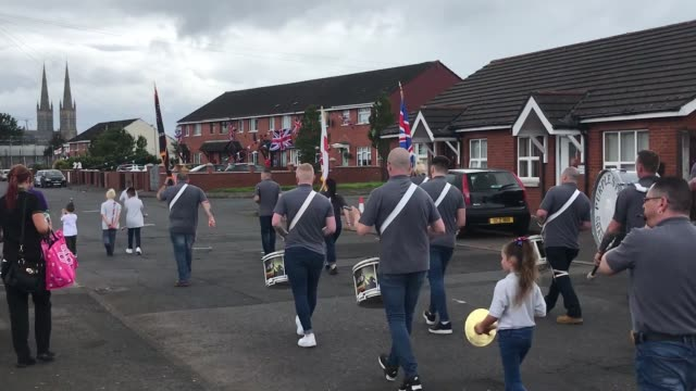 bands march on shankill road in belfast, northern ireland, as twelfth of july parades are scaled back due to coronavirus restrictions. - parade stock videos & royalty-free footage