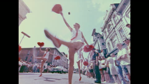 bands play and girls dance during the homecoming parade for apollo 11 - homecoming stock videos & royalty-free footage