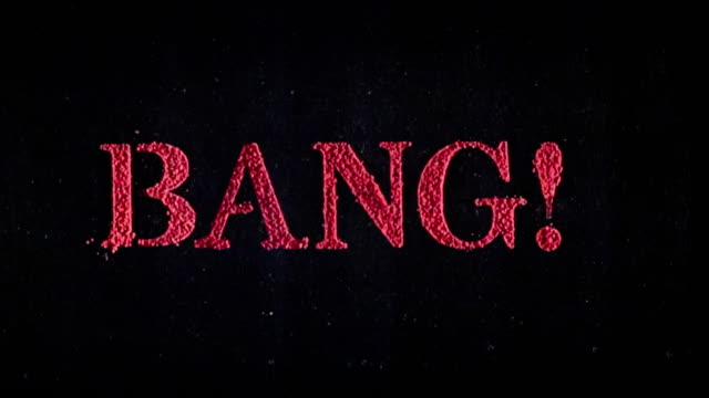 Bang written in red powder exploding in slow motion.