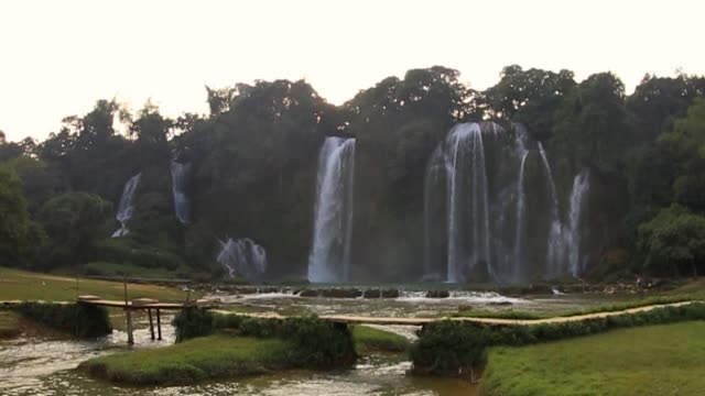 bangioc waterfall in cao bang province - off the beaten path stock videos & royalty-free footage
