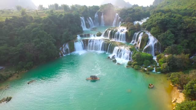 bangioc waterfall in cao bang province, vietnam, high angle view - vietnam stock videos & royalty-free footage
