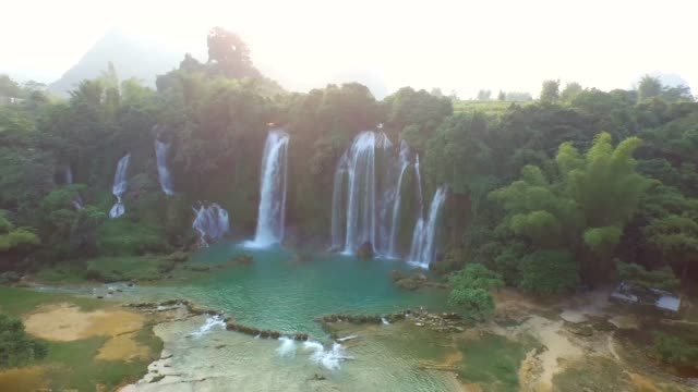 bangioc waterfall in cao bang province, vietnam, high angle view - off the beaten path stock videos & royalty-free footage