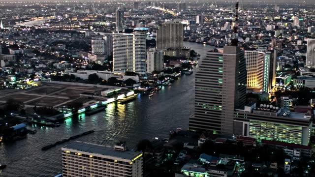 bangkok aerial at night - association of southeast asian nations stock videos & royalty-free footage